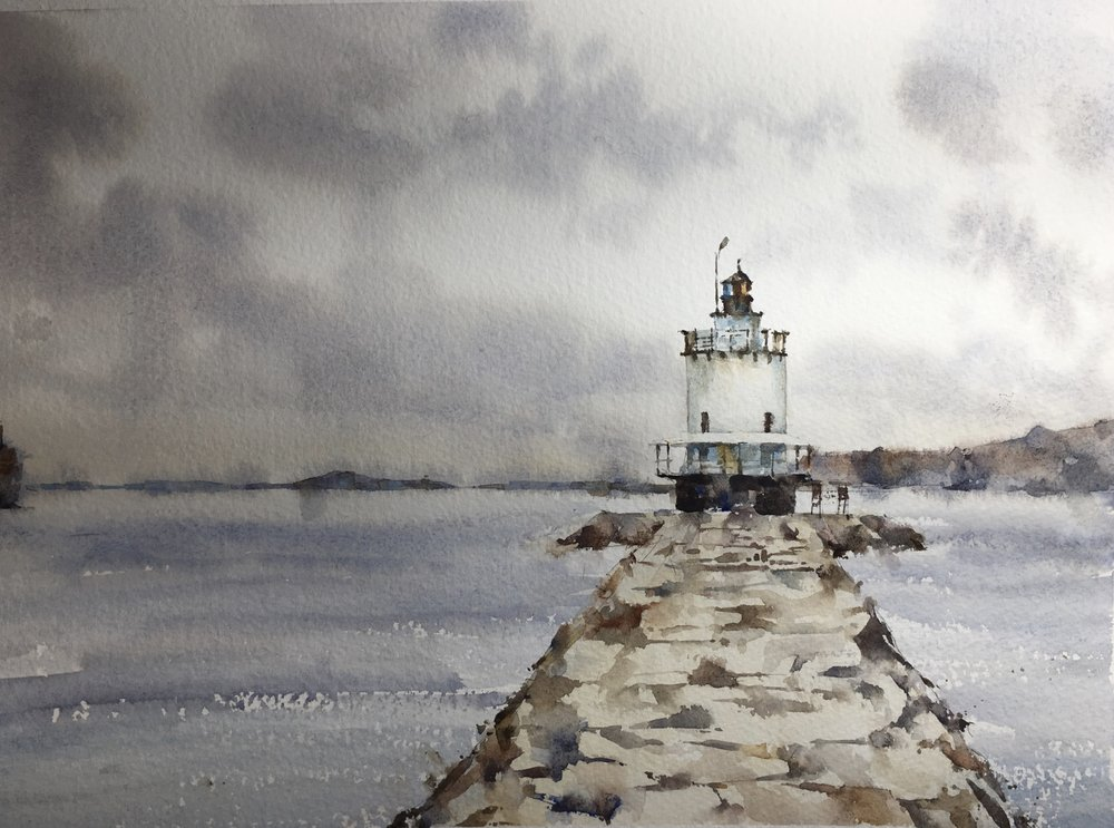 """Maine Lighthouse. Michele Clamp. Watercolor 11""""x14"""""""