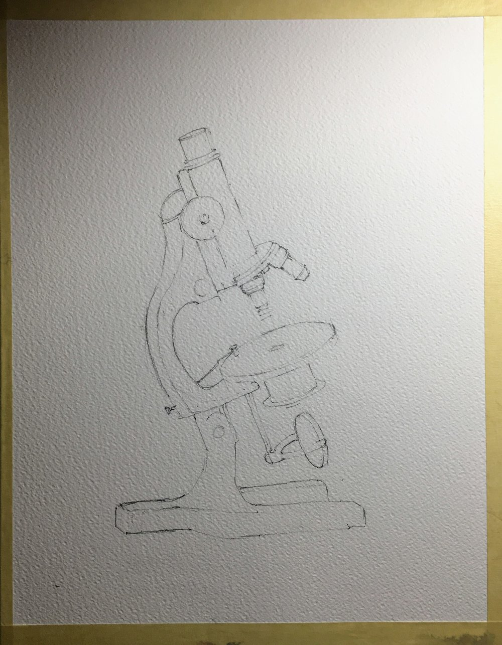 The initial drawing. Fairly tight as I knew things would get a lot looser when the paint started flowing.