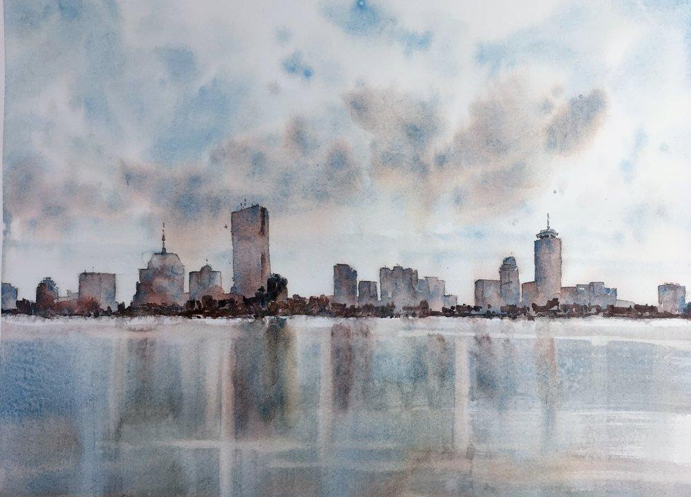 """Boston skyline.  Michele Clamp.  Watercolor.  11""""x14"""""""