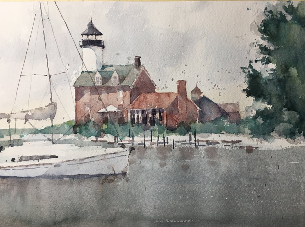 """Morgan Point Light.  Michele Clamp. Watercolor. 11""""X14"""""""