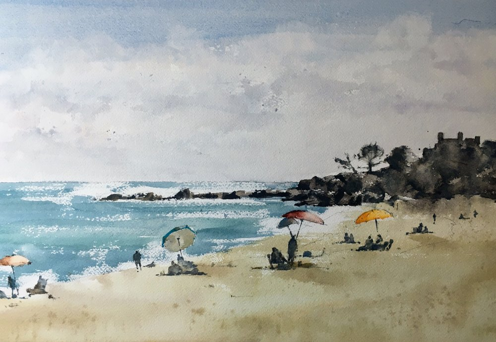 """Singing Beach, Manchester by the Sea. Michele Clamp. Watercolor. 11x14"""""""