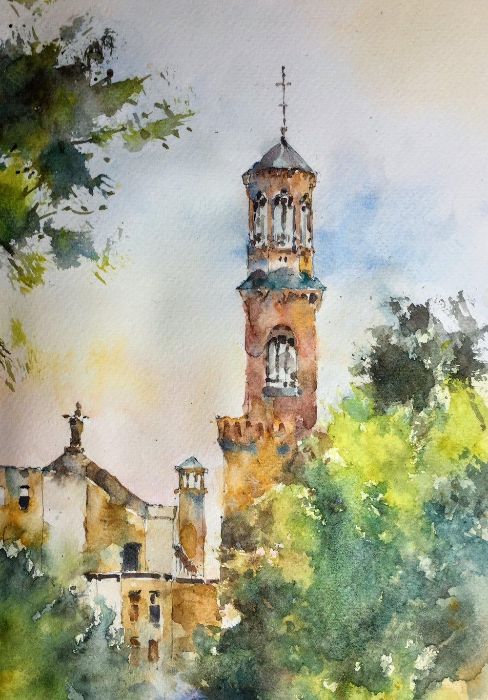 """Church of St Paul, Cambridge MA. Michele Clamp watercolor. 10""""x8""""/16""""x12"""" matted."""