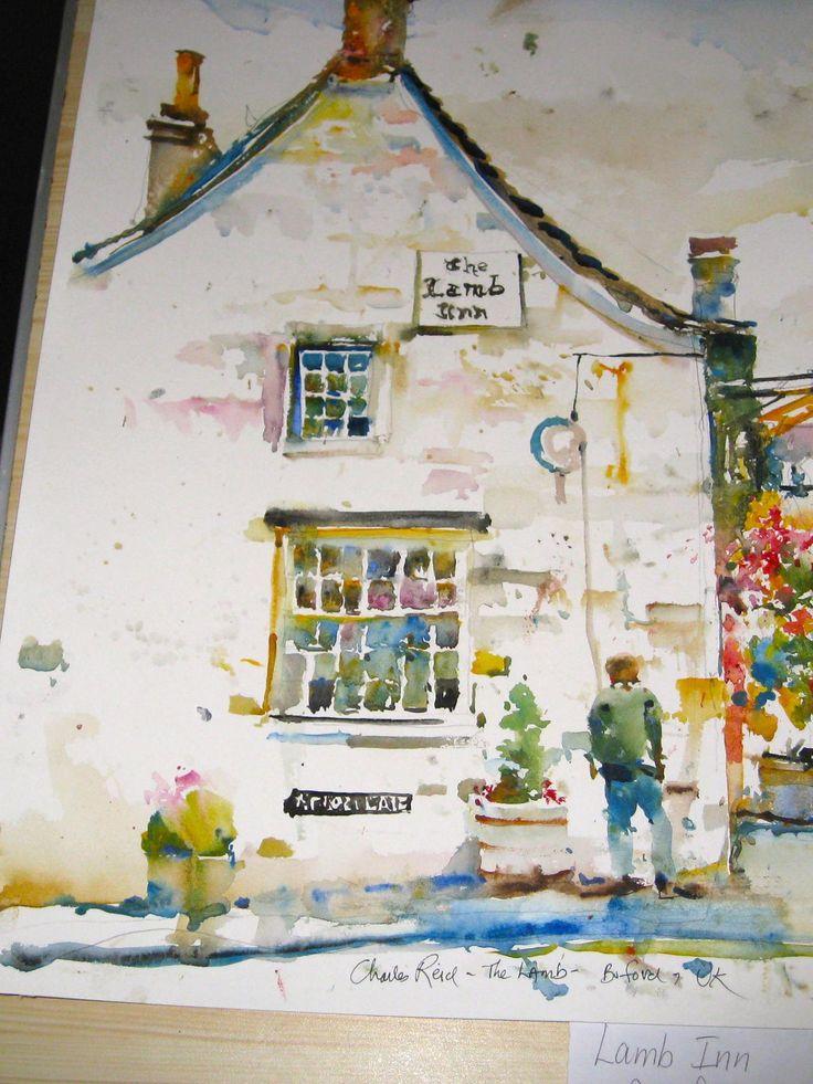 Charles Reid sketch of The Lamb Inn in Burford, UK
