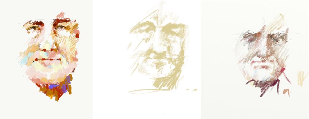 Adobe Sketch, Procreate, and Artrage tests