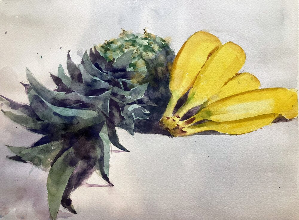 """Pineapple and bananas.   Michele Clamp.  Watercolor.  11""""x14"""""""