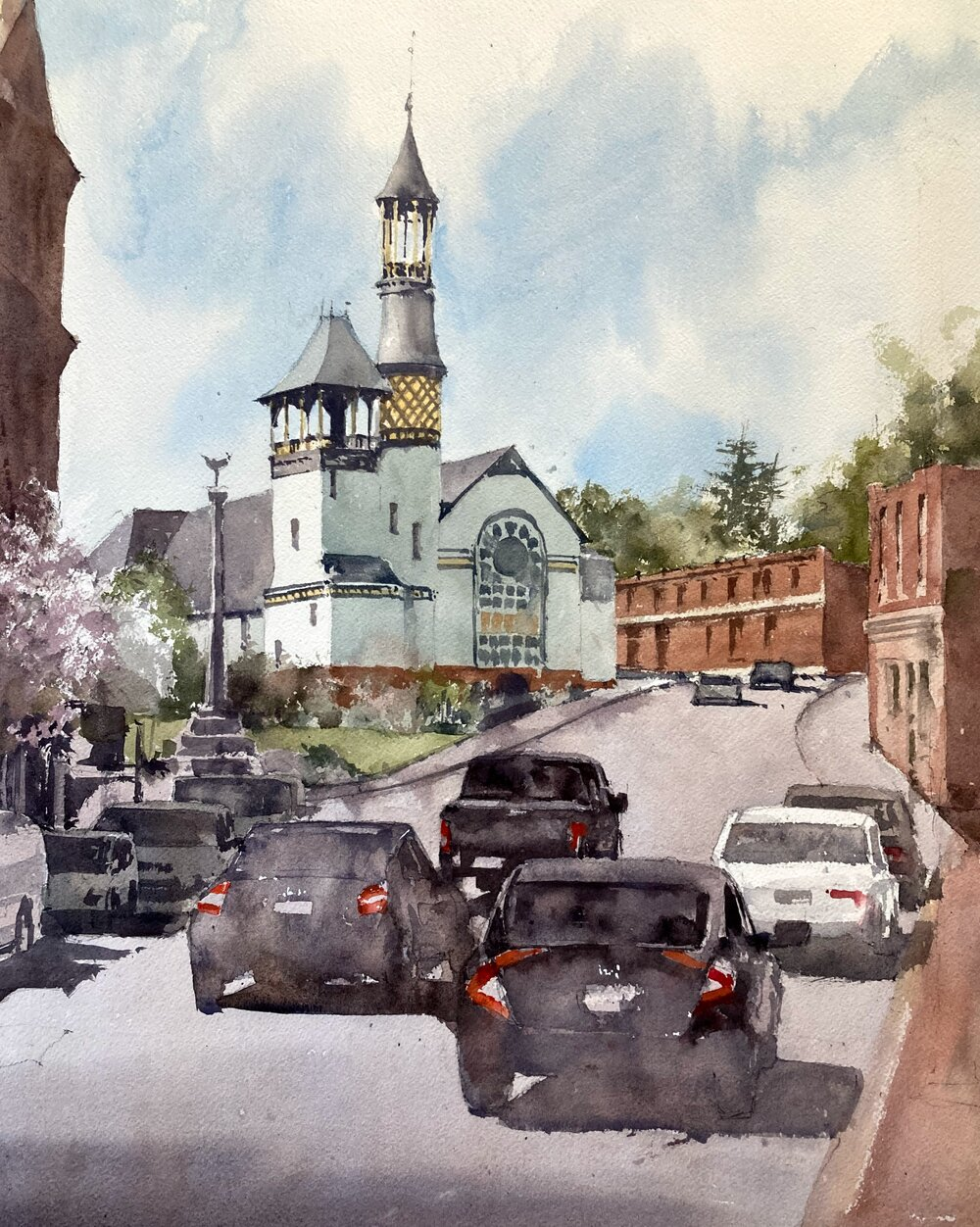 "Marlborough Baptist Church.  Michele Clamp.  Watercolor.  16""x20"""