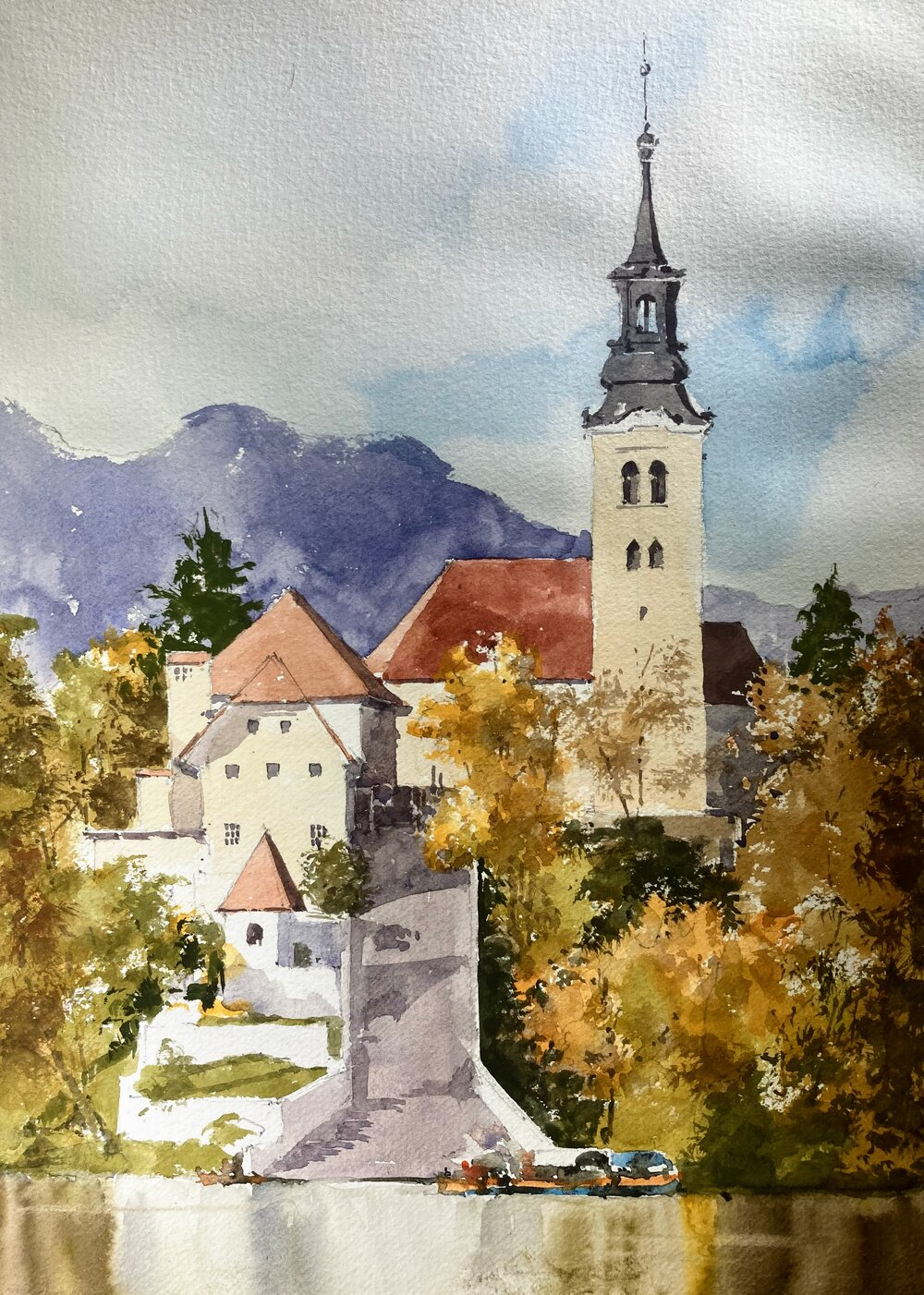 """Lake Bled.   Michele Clamp.  Watercolor.  14""""x11"""""""