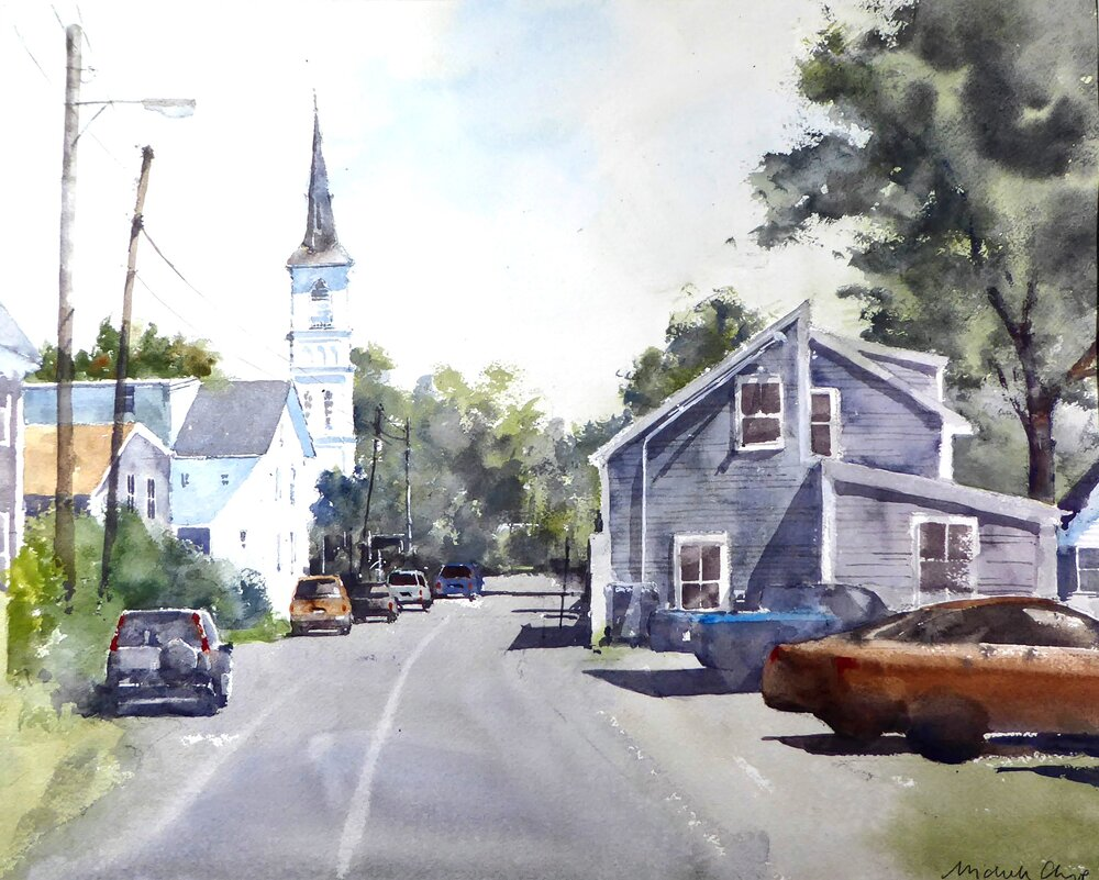 """Cleaves St.  Rockport Ma.   Michele Clamp.  Watercolor 16""""x20"""""""