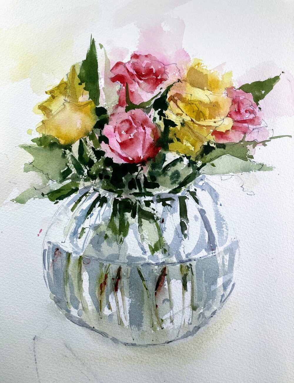"""Roses in vase.  Michele Clamp.   Watercolor.  14""""x11"""""""