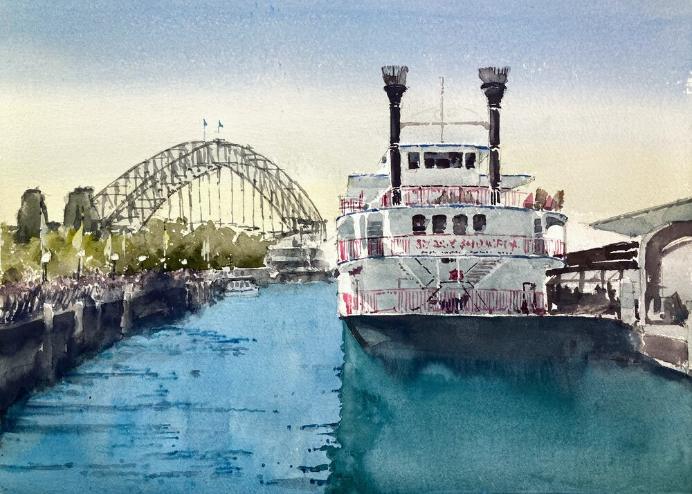 """Sydney Showboat.  Michele Clamp.  Watercolor 11""""x14"""""""