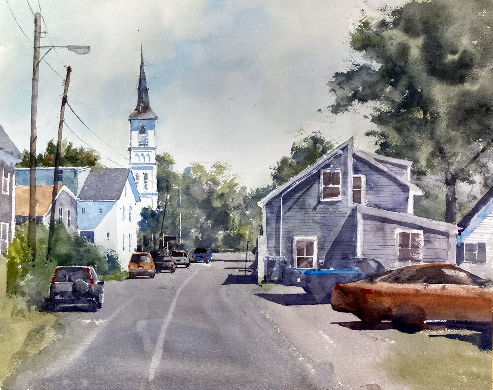 """Cleaves St.  Rockport, MA.  Michele Clamp.  Watercolor.  16""""x20"""""""