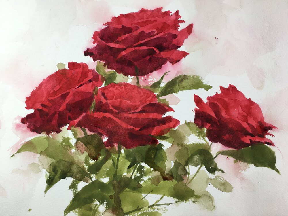 """Four Roses. Michele Clamp. Watercolor. 11""""x14"""""""