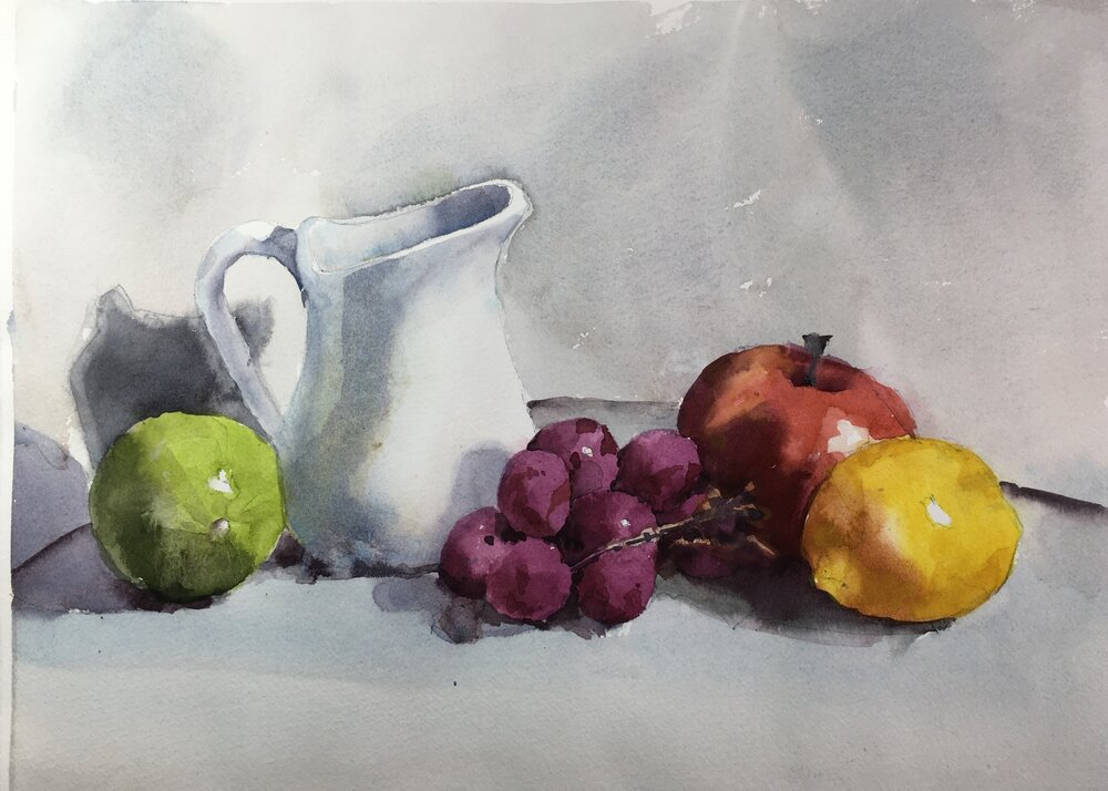 """Fruit Still Life with Jug. Michele Clamp. Watercolor. 11""""x14"""""""