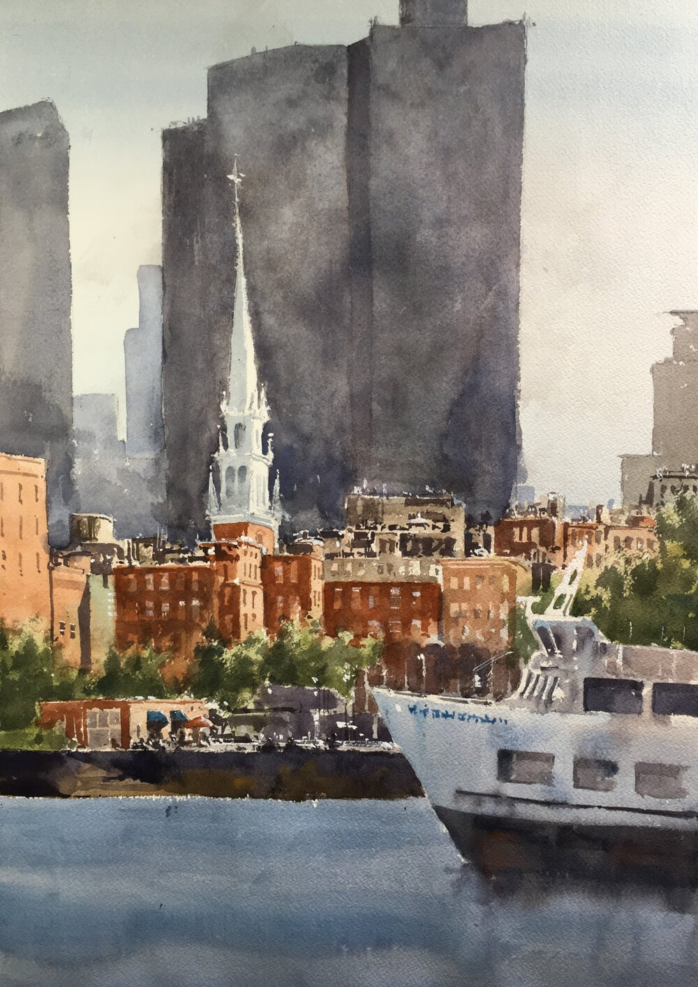 """Boston from the Naval Yard.  Michele Clamp.  Watercolor.   20""""x16"""""""