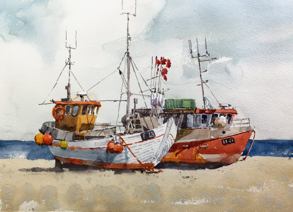 """Boats, Boats, Boats. Michele Clamp. Watercolor. 11""""x14"""""""