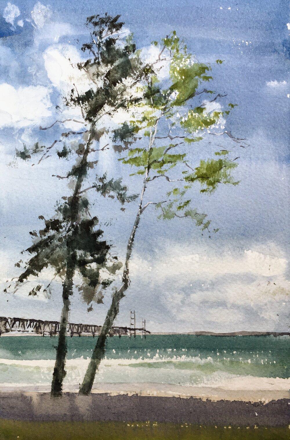 sea_bridge_watercolor_painting