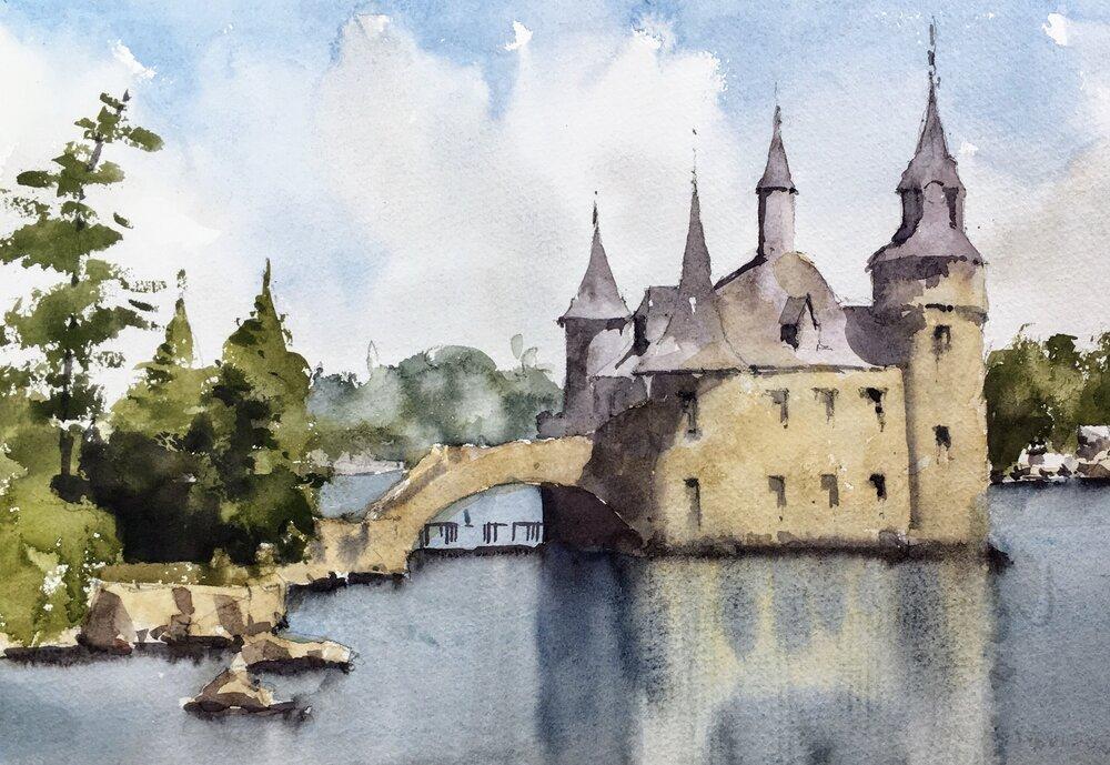 """Boldt Castle.  Michele Clamp.  Watercolor.  11""""x14"""""""