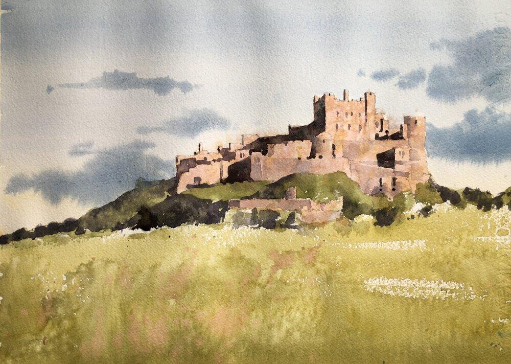 "Bamburgh Castle. Michele Clamp. Watercolor 11""x14"""