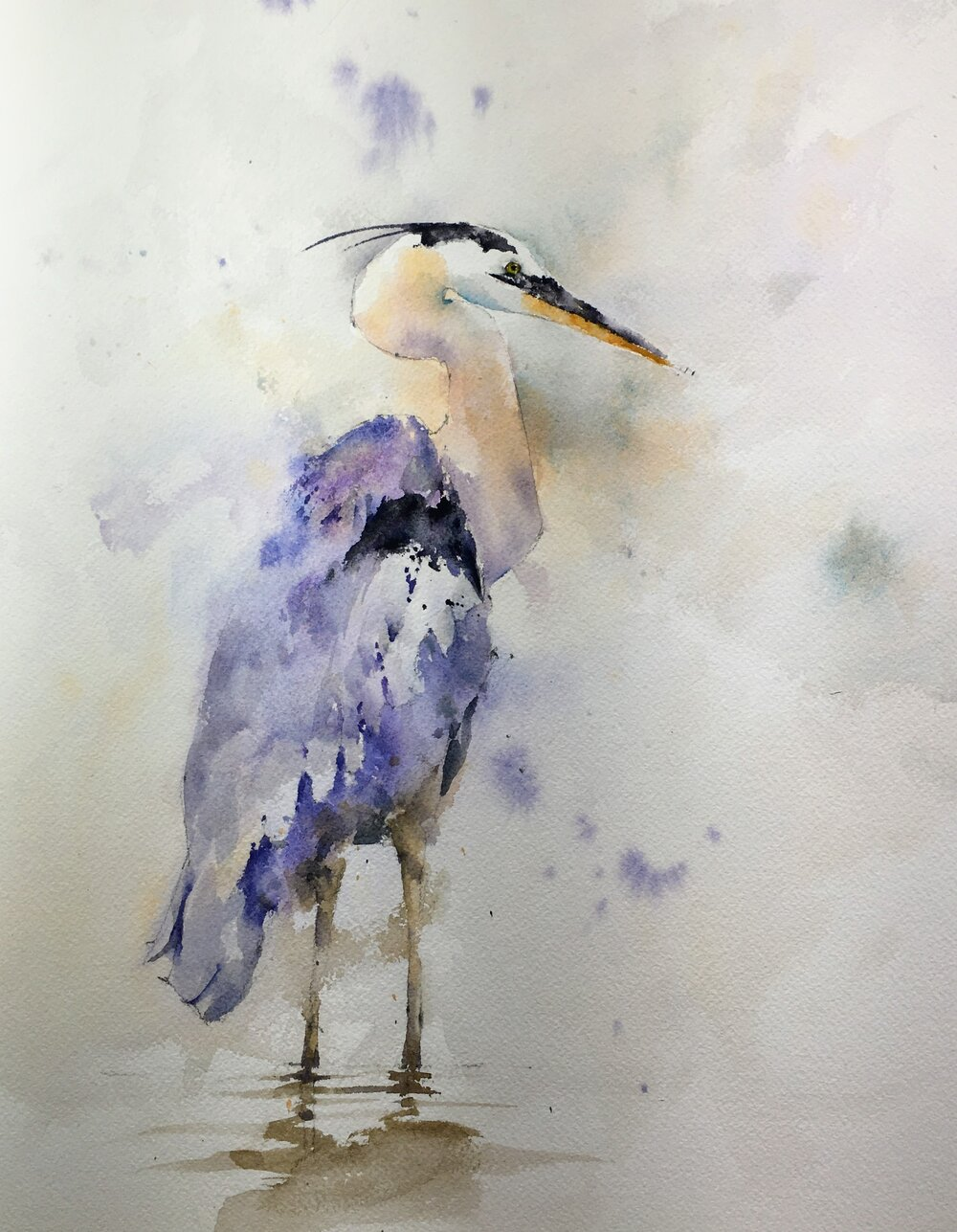 """Wading Blue Heron. Michele Clamp. Watercolor 14""""x11"""""""