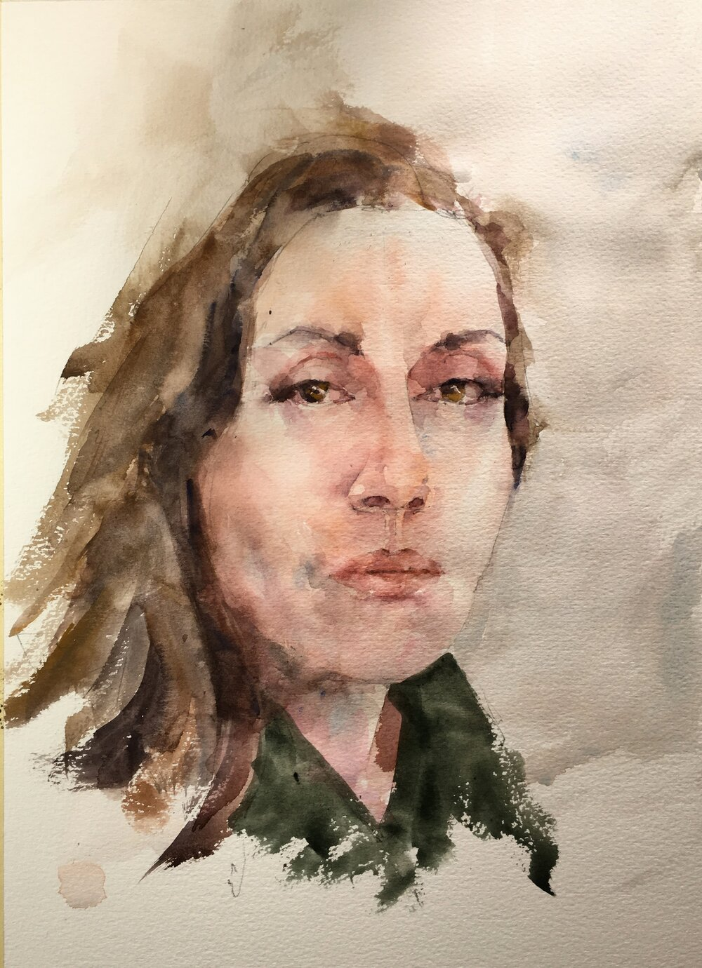 """Self portrait.  Michele Clamp.  Watercolor. 14""""x11"""""""