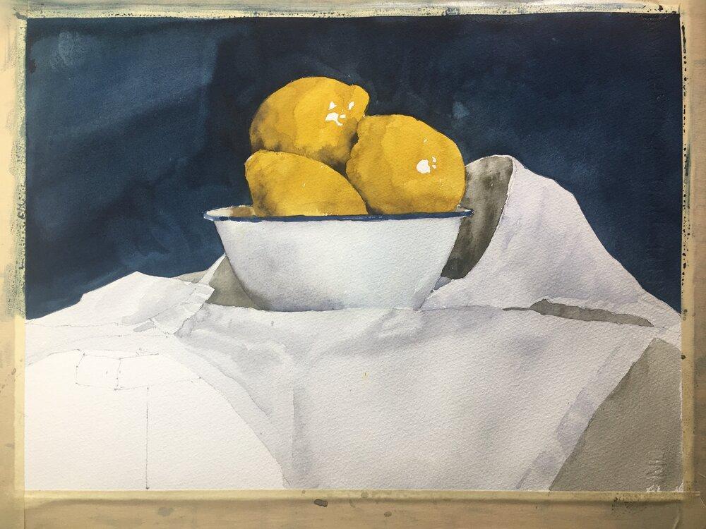 """Lemons.  In Progress.   Michele Clamp. Watercolor.  11""""x14"""""""