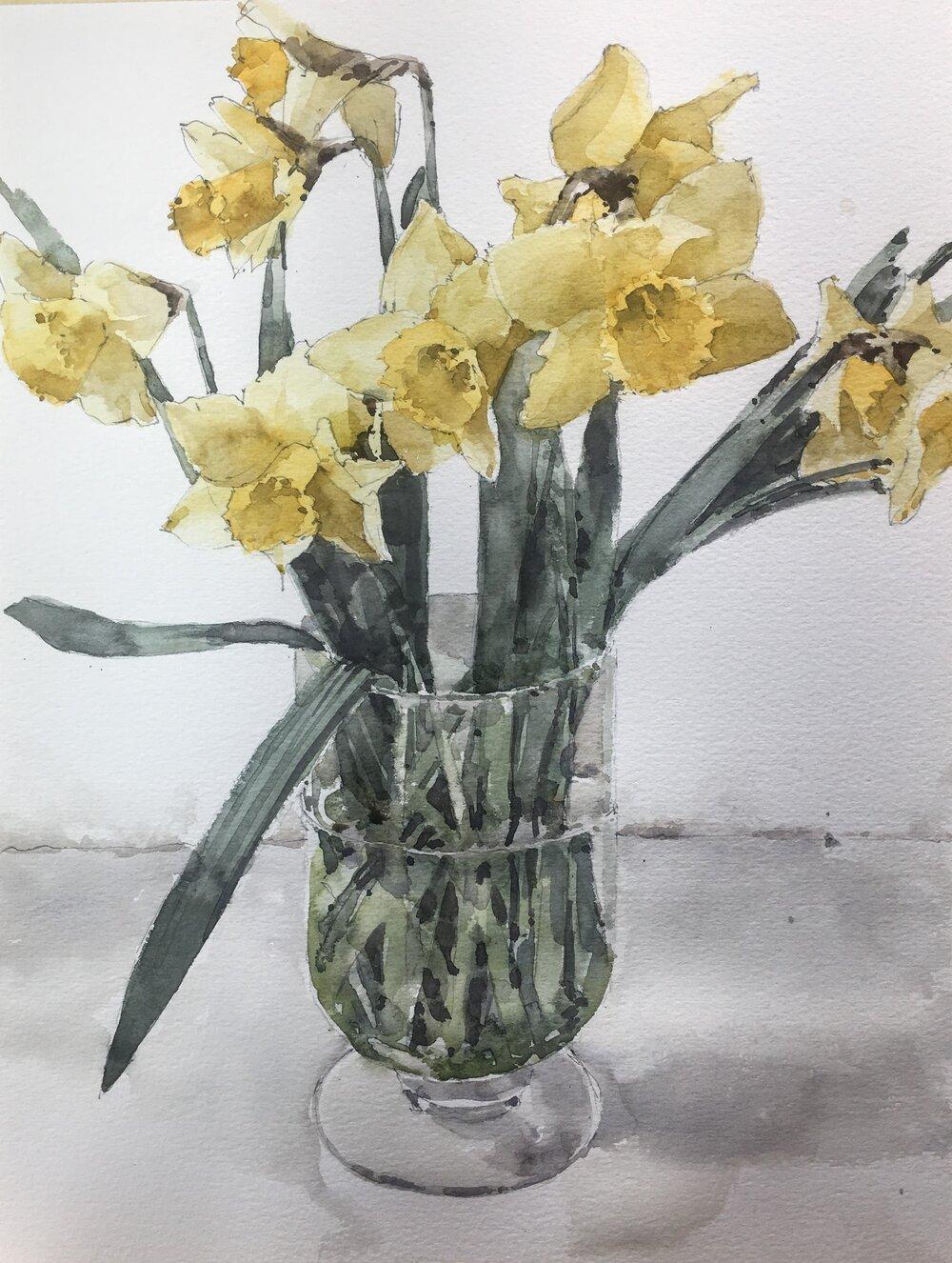 "Daffodils.  Michele Clamp.  Watercolor.  14""x11"""