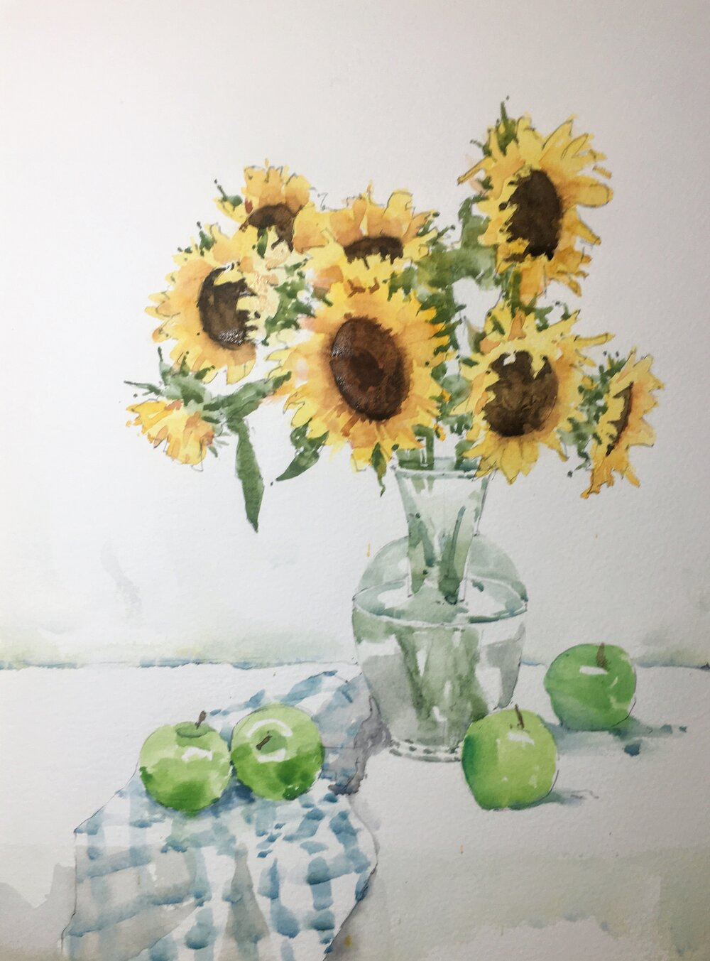 """Sunflowers.  Michele Clamp.  Watercolor.  14""""x11"""""""