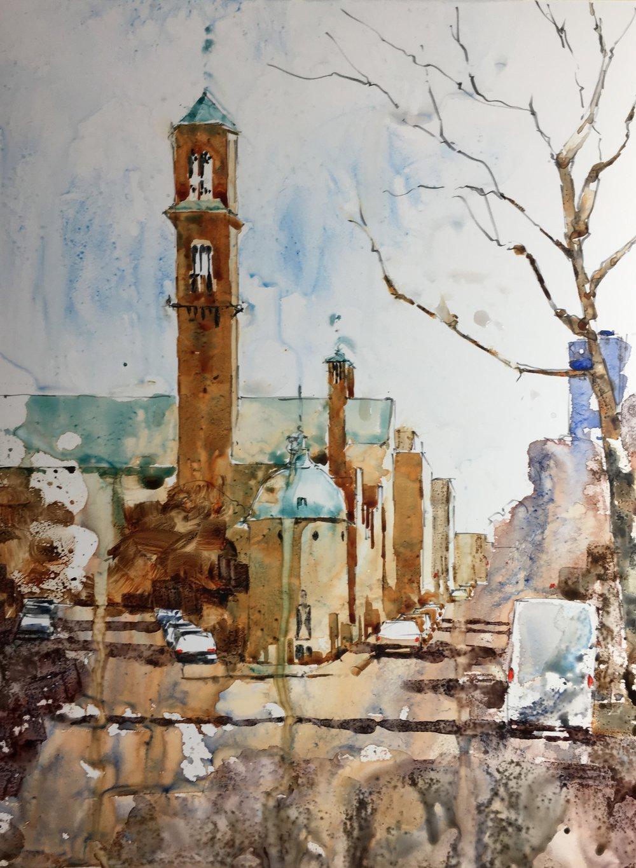 "Mt Auburn St, Cambridge MA. Michele Clamp. Watercolor on Yup 12""x9"""