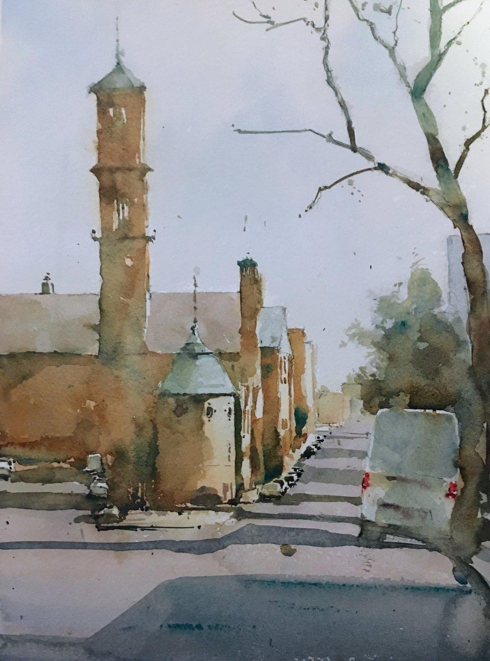 mt_auburn_st_cambridge_watercolor_painting