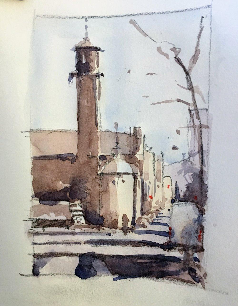mt_auburn_st_cambridge_watercolor_sketch