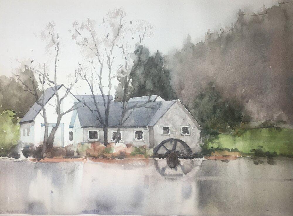 """Mill Scene.  Michele Clamp.  Watercolor.  11""""x14"""""""