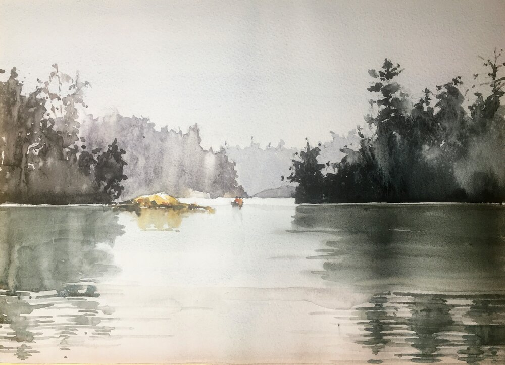 Misty Lake.  Michele Clamp.  Watercolor