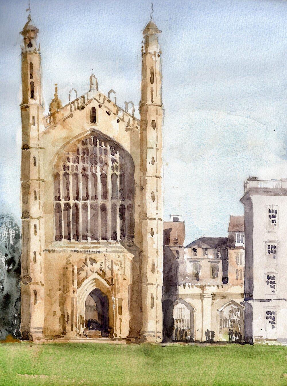 "Kings College, Cambridge.   Michele Clamp.  Watercolor 14""x11"""