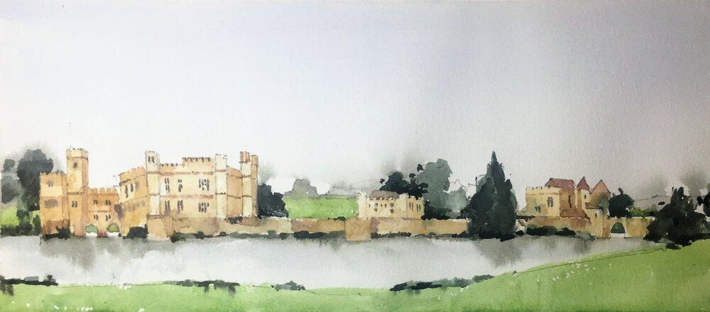 Leeds Castle.  Watercolor sketch.  Michele Clamp