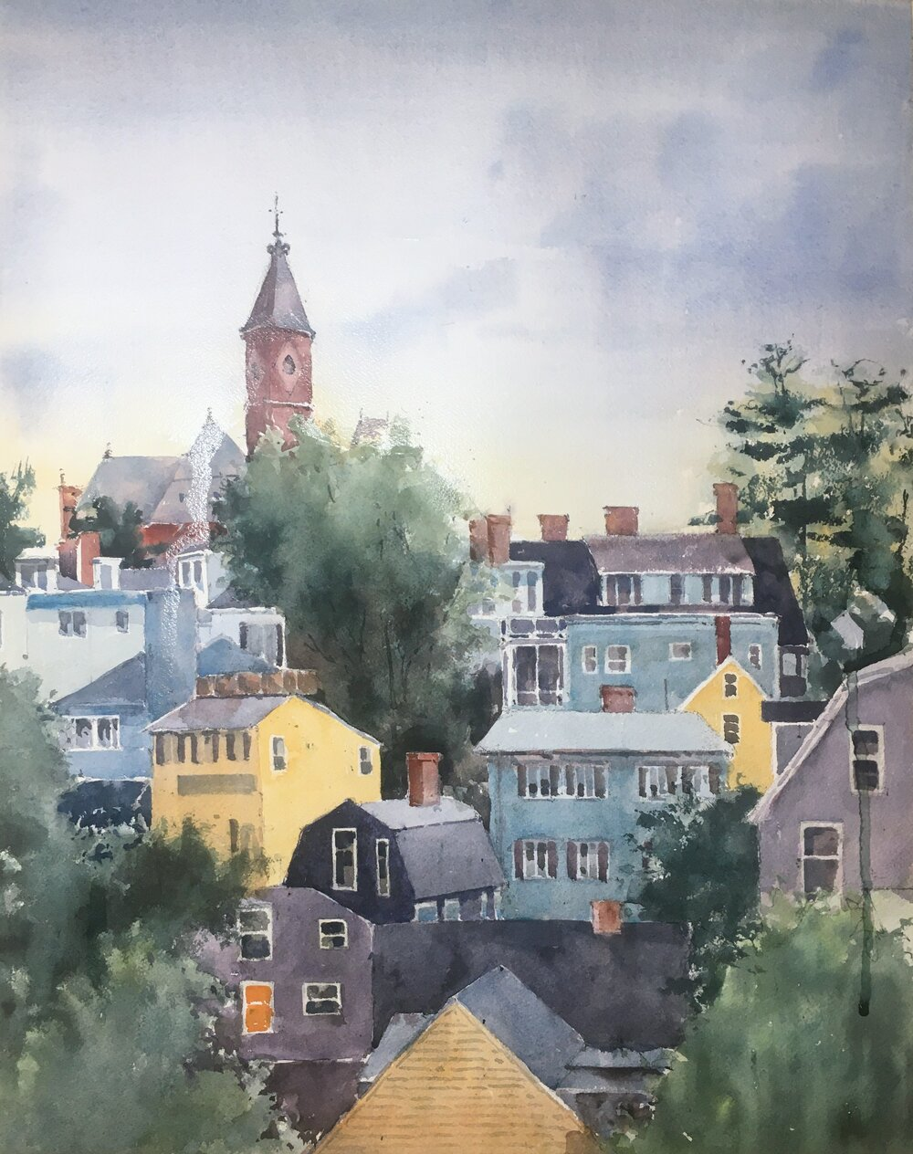 """Marblehead at Sunset. Michele Clamp. Watercolor. 20""""x16"""""""