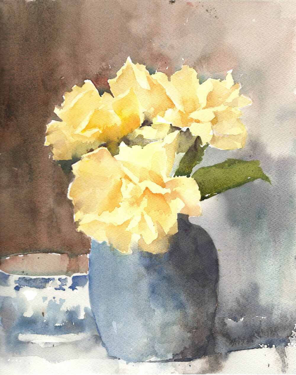 Yellow Roses. With kind permission from Paul Foxton. Watercolor. Michele Clamp.