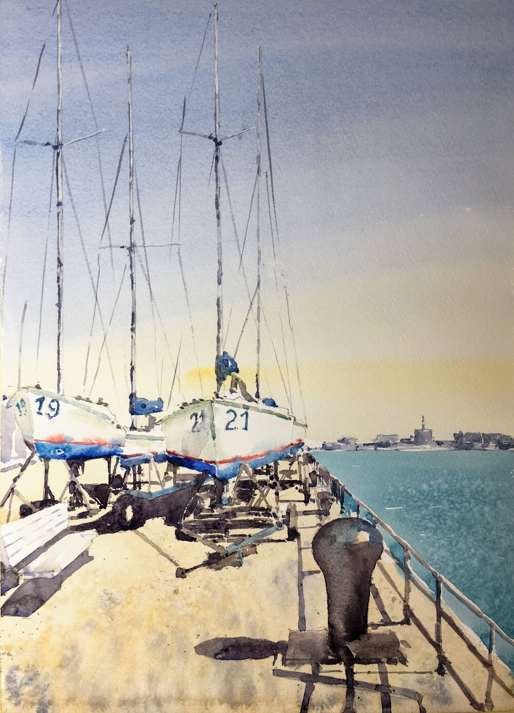 """Boats at the Naval Yard,  Boston Harbor.  Michele Clamp.  Watercolor.  14""""x11"""""""