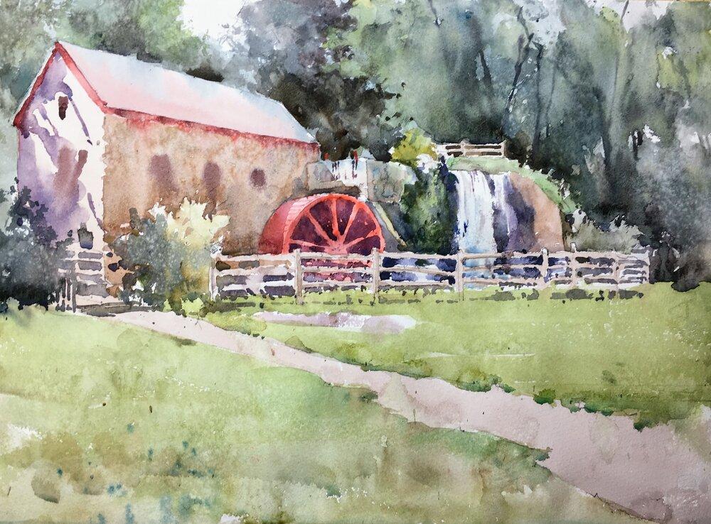 """Grist Mill, Sudbury, MA. Michele Clamp. Watercolor. 11""""x14"""""""