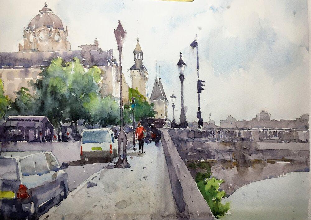 """Paris scene.  Watercolor.  Michele Clamp 11""""x14"""""""