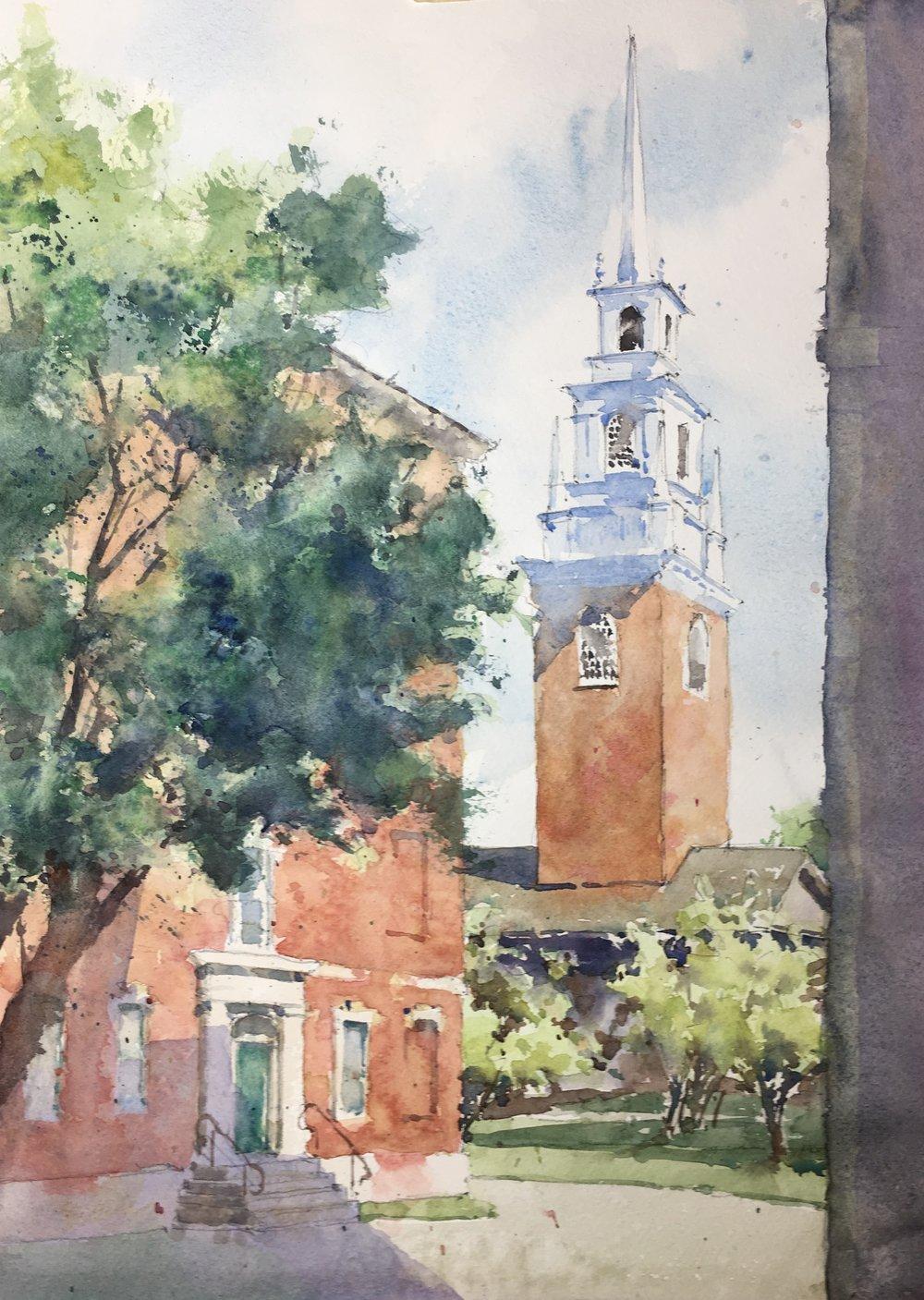 """Memorial Church, Harvard Yard. Michele Clamp. Watercolor. 14""""x11"""""""