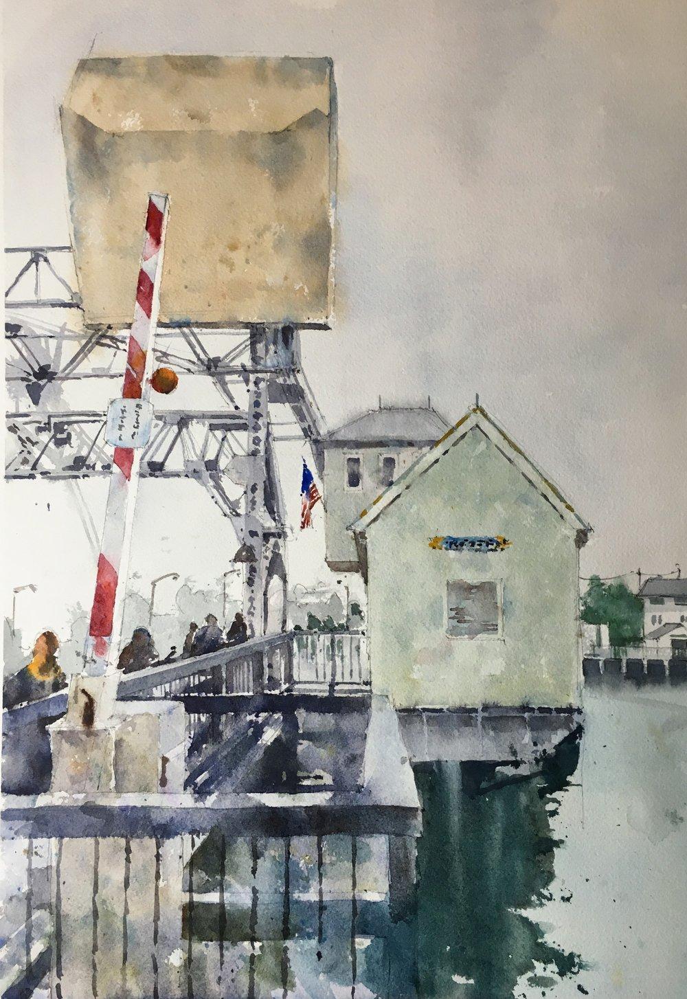 "Mystic Bridge.   Michele Clamp.  Watercolor. 19""x13"""