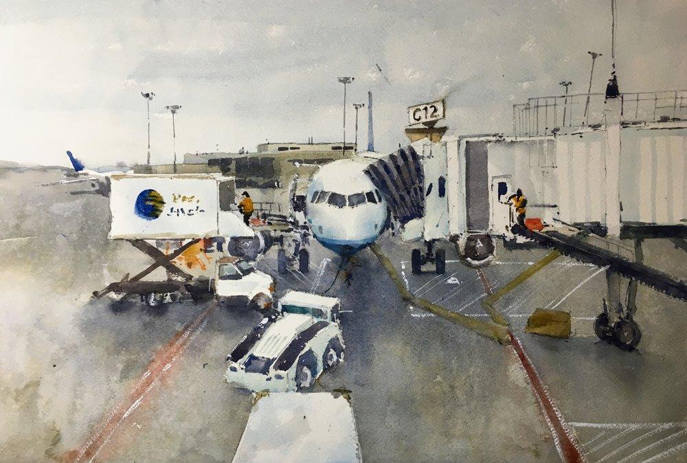 """Logan airport, Boston.  Michele Clamp.  Watercolor.  13""""x19"""""""