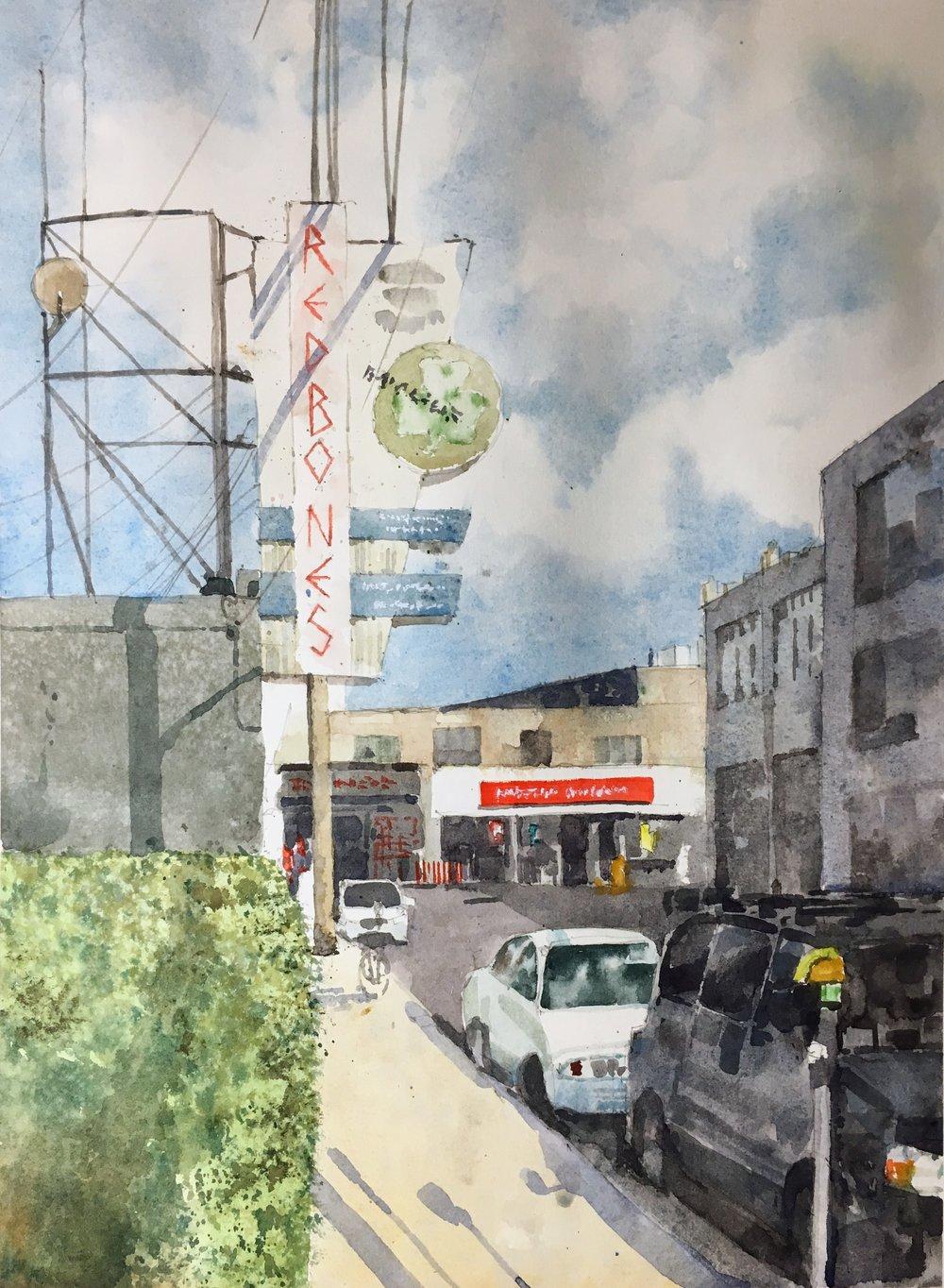 """Redbone, Davis Square.  Michele Clamp.  Watercolor.  14""""x11"""""""