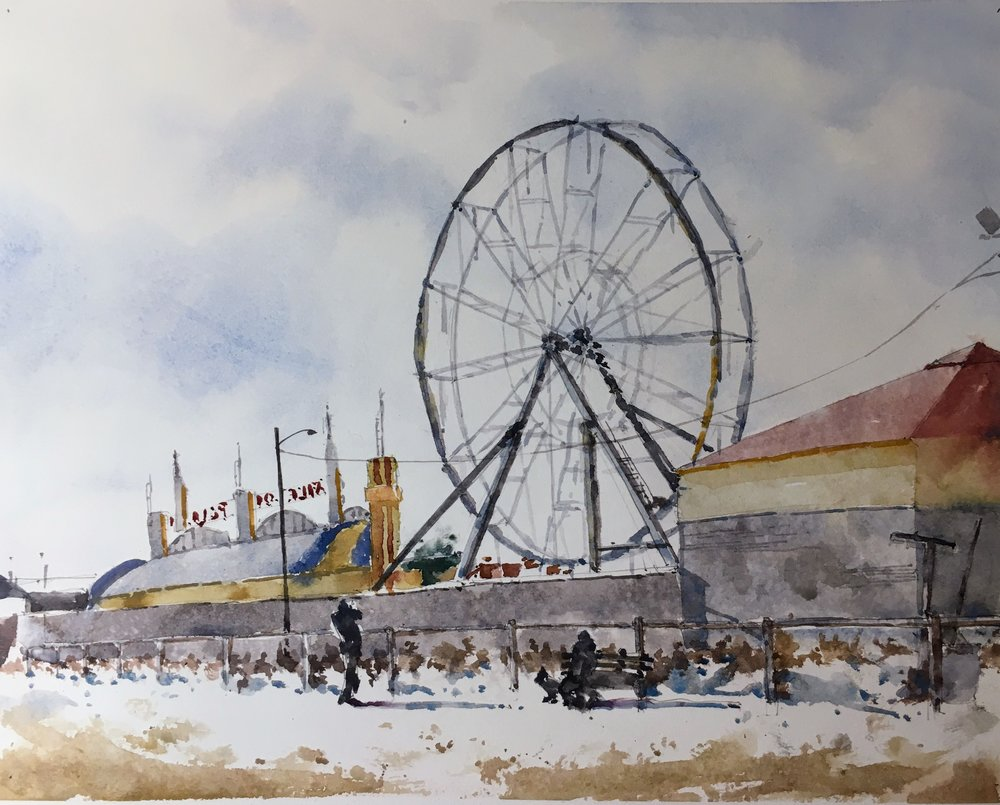 """Orchard Beach, Maine.   Michele Clamp.  Watercolor.  11""""x14"""""""