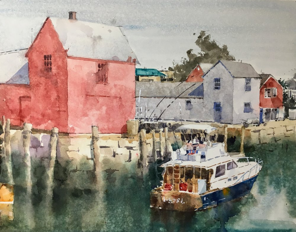 """Motif #1, Rockport. Michele Clamp. Watercolor. 11""""x14"""""""