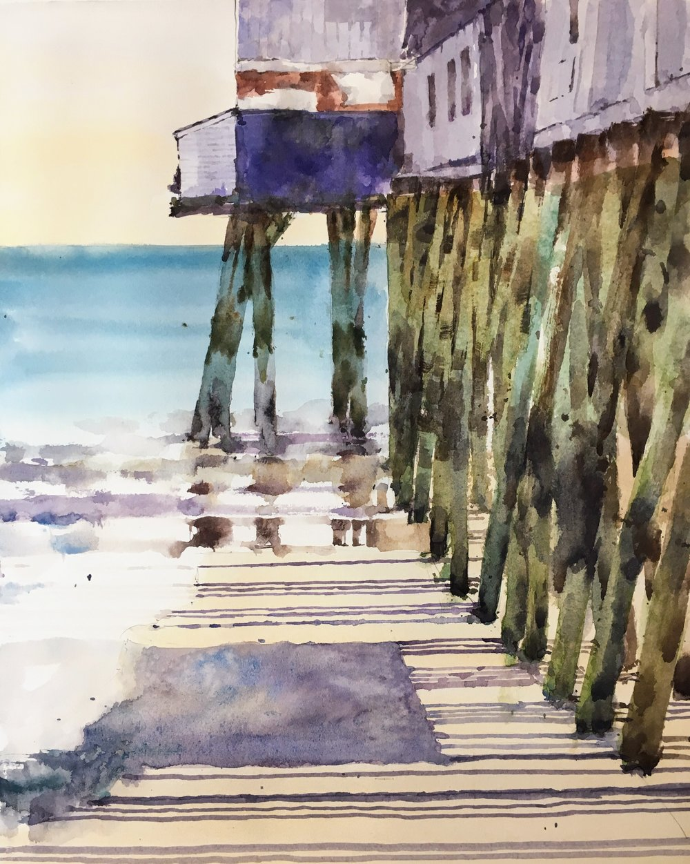 """Pier at Old Orchard Beach, Maine. Michele Clamp. Watercolor. 14""""x11"""""""