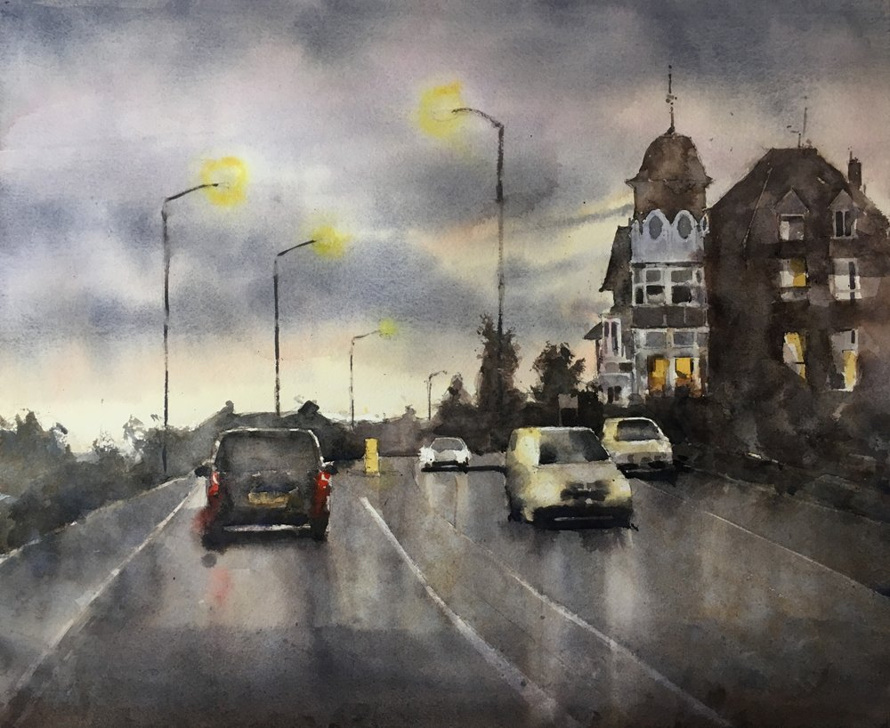 """Southend at dusk. Michele Clamp. Watercolor. 13""""x19"""""""