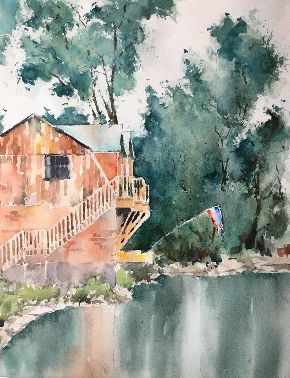 """Shelburne from the flower bridge. Michele Clamp. Watercolor. 14""""x11"""""""