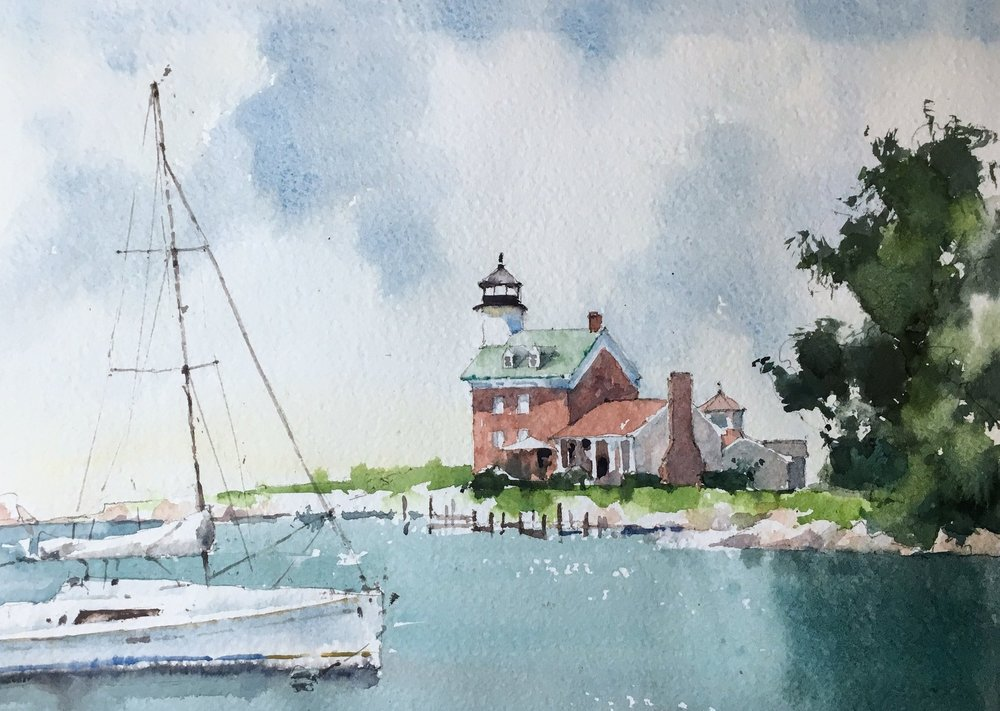 """Morgan Point Lighthouse, Noank, CT. Michele Clamp. Watercolor. 11""""x14"""""""