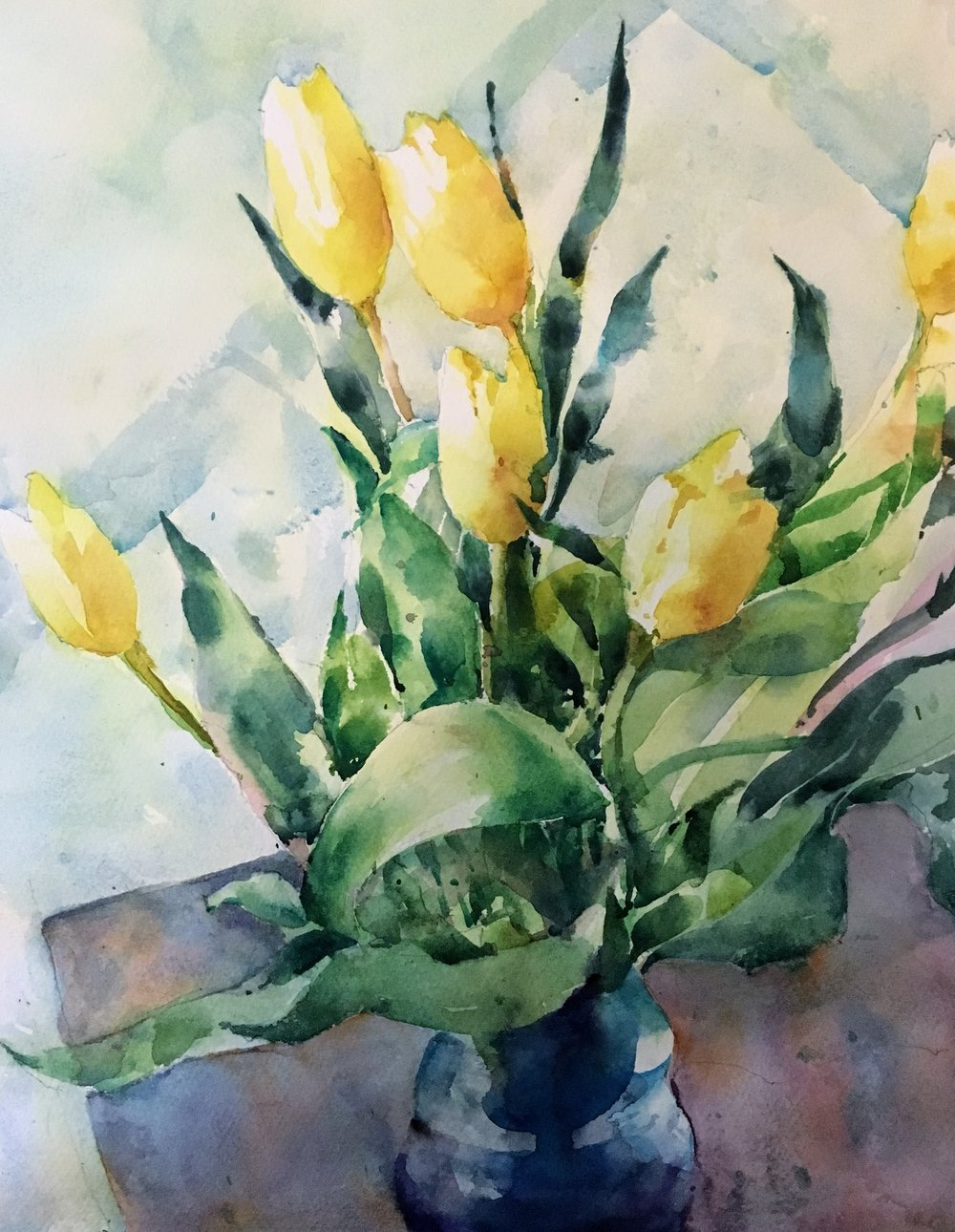 """Tulips.   Michele Clamp.  Watercolor.  14""""x11"""""""